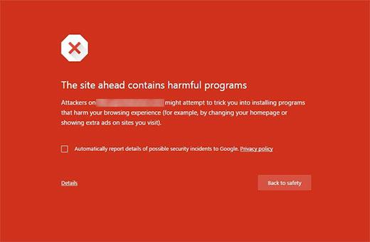 Google's Malware Warning Page